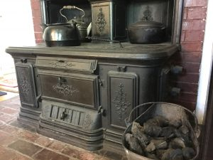 Closeup of the Carpenter coal-burning stove in the kithcen of the Loring-Greenough House