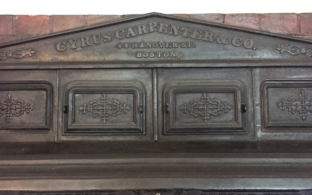 Finish details of the LGH Cyrus Carpenter coal-burning stove - circa 1901