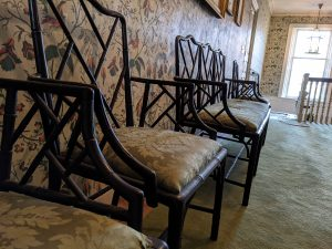 Antique chairs inside the Loring Greenough House